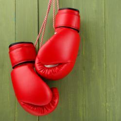 Rote Boxhandschuhe auf grünem Hintergrund