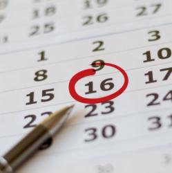 Roter Kreis um Tag im Terminkalender