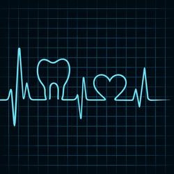 Linie Herzschlag mit Form von Zahn und Herz dazwischen
